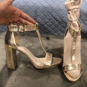 New gold T- strap heels